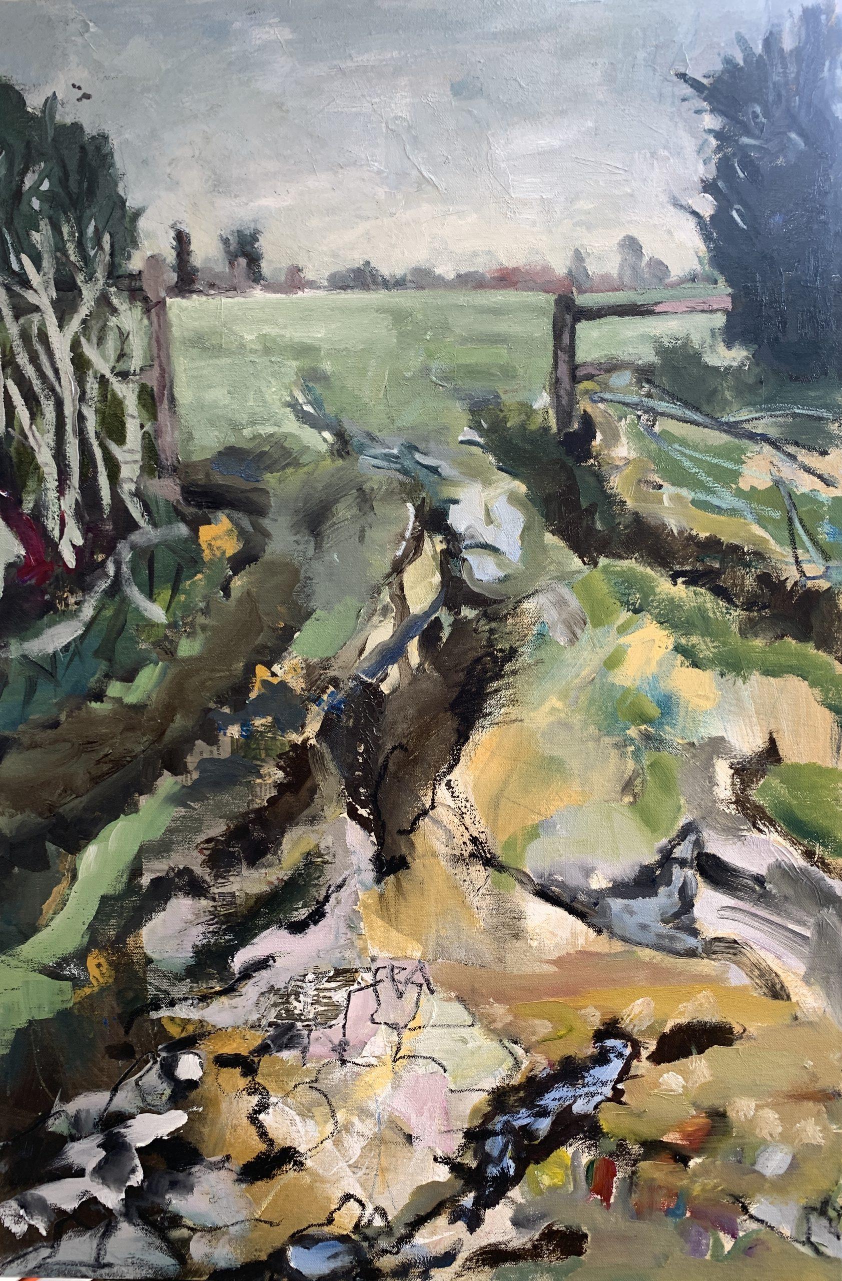"Oil on 18"" x 36"" canvas"
